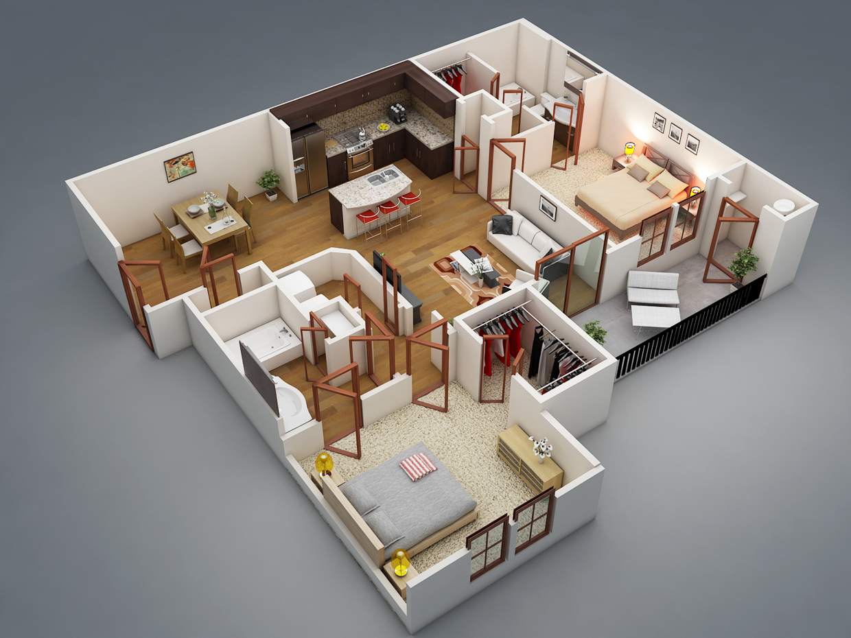 2 bedroom apartment house plans for Two bedroom house