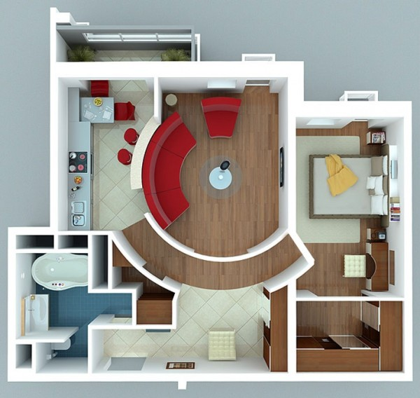 Single Bedroom House Interior Design And Lay-out Plans