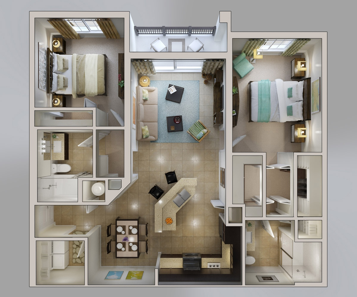 2 bedroom apartment house plans - Room house design ...