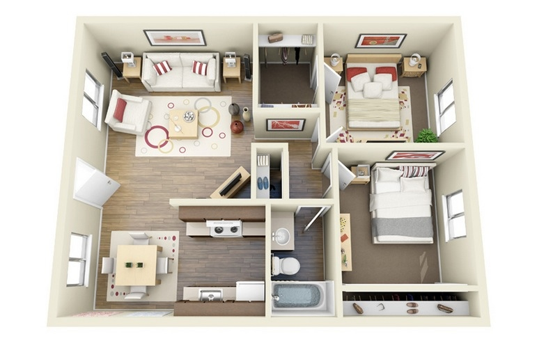 2 bedroom apartment house plans - Architectural plan of two bedroom flat with dining room ...