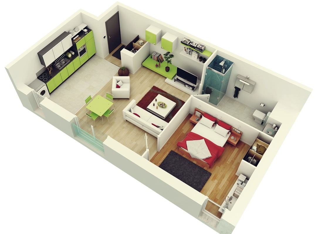 Layout design house - 1 Bedroom Apartment House Plans