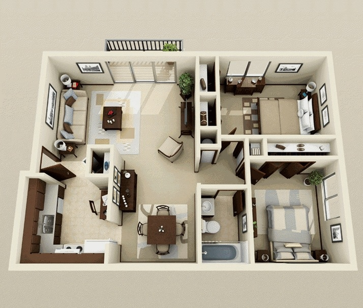 Looking For One Bedroom To Rent: 2 Bedroom Apartment/House Plans