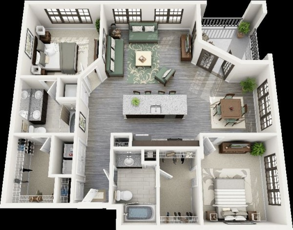 2 Bedroom Apartment/House Plans