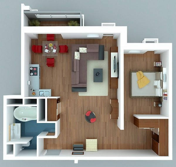 One Bedroom Apartments: Futuristic-Modern-Apartment-600x568.jpg