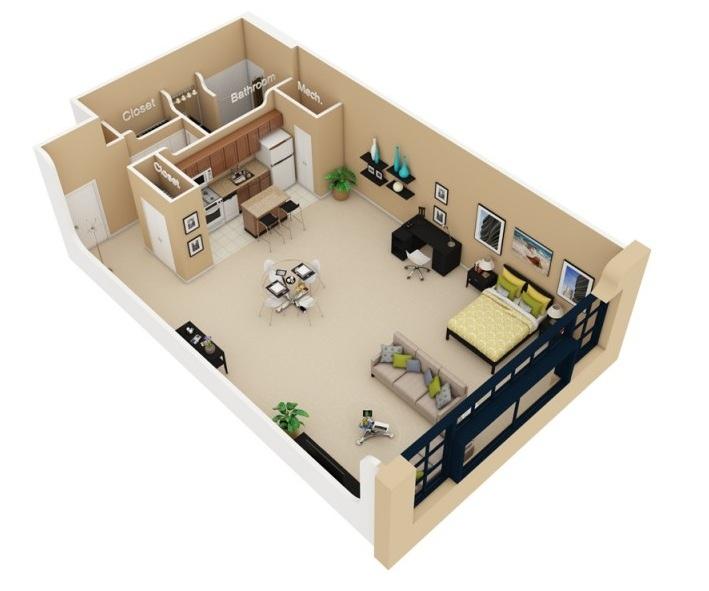 Studio apartment floor plans - Apartment designs and floor plans ...
