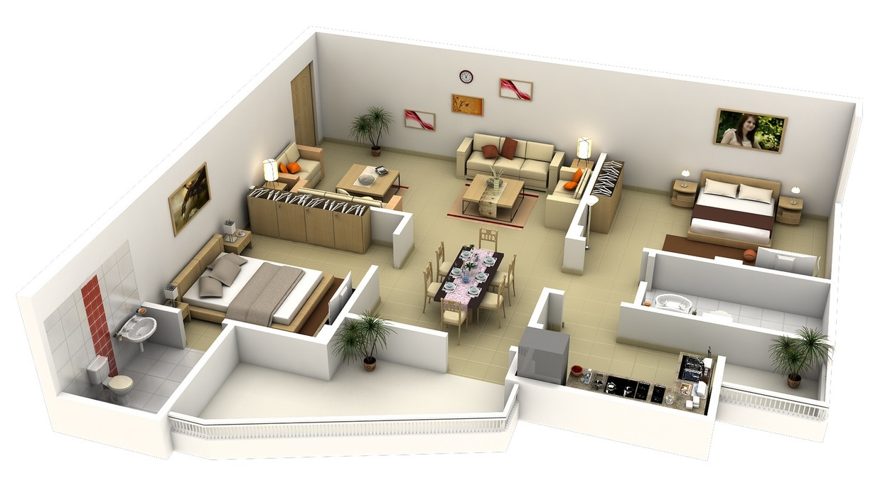 L shaped 2 bedroom apartment