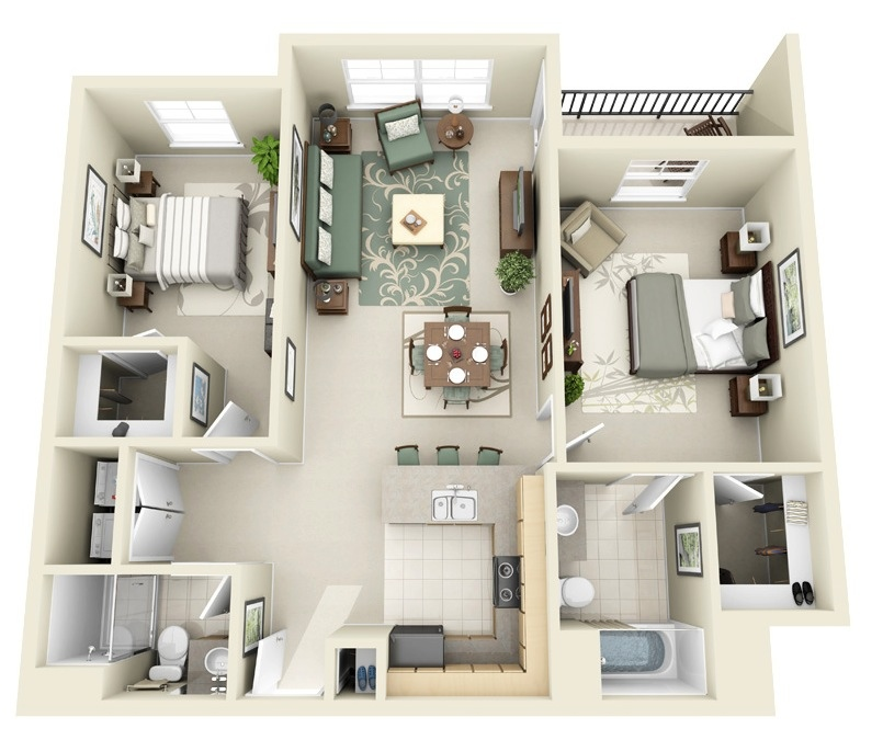 Three Rooms Apartment With A Big Modern Kitchen: 2 Bedroom Apartment/House Plans