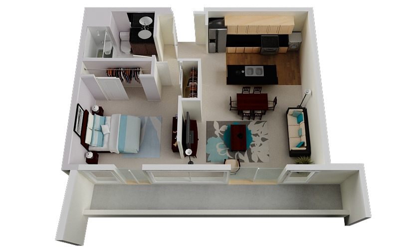 Luxury 1 Bedroom Floor Planinterior Design Ideas
