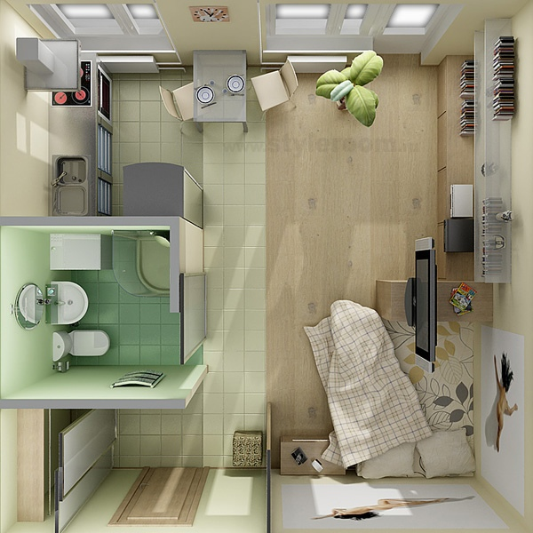 Contemporary Studio Apartment Design: 50 STUDIO TYPE SINGLE ROOM HOUSE LAY-OUT AND INTERIOR DESIGN