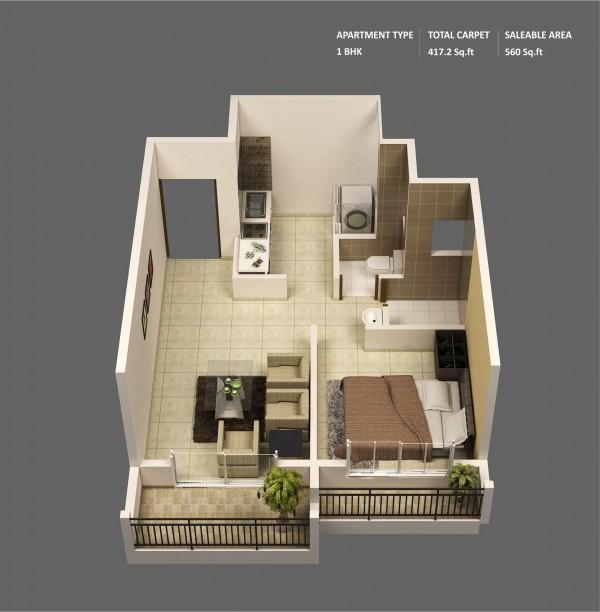 Designeer Paul 1 Bedroom Apartment House Plans