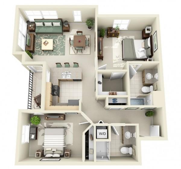 Need Apartment: Designeer-paul: 2 Bedroom Apartment/House Plans