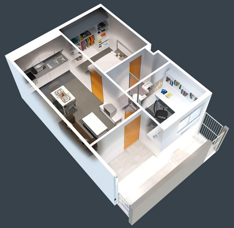 1 Bedroom Apartment Blueprints: 1 Bedroom Apartment/House Plans