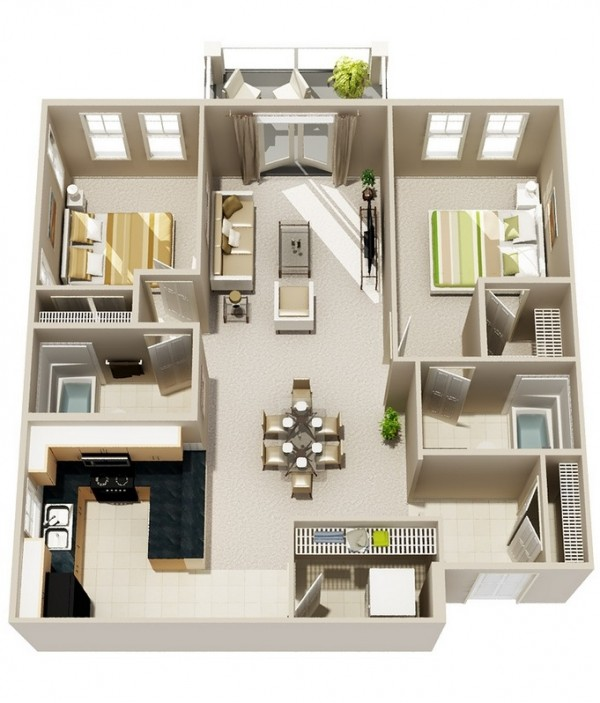 Home Design Ideas 3d: 2 Bedroom Apartment/House Plans
