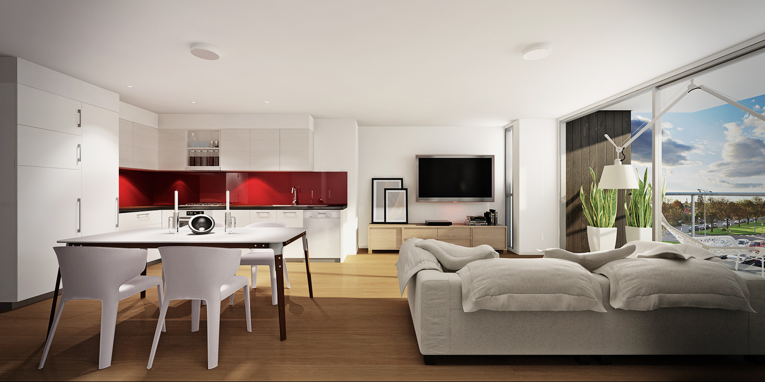 Red White Studio Apartment
