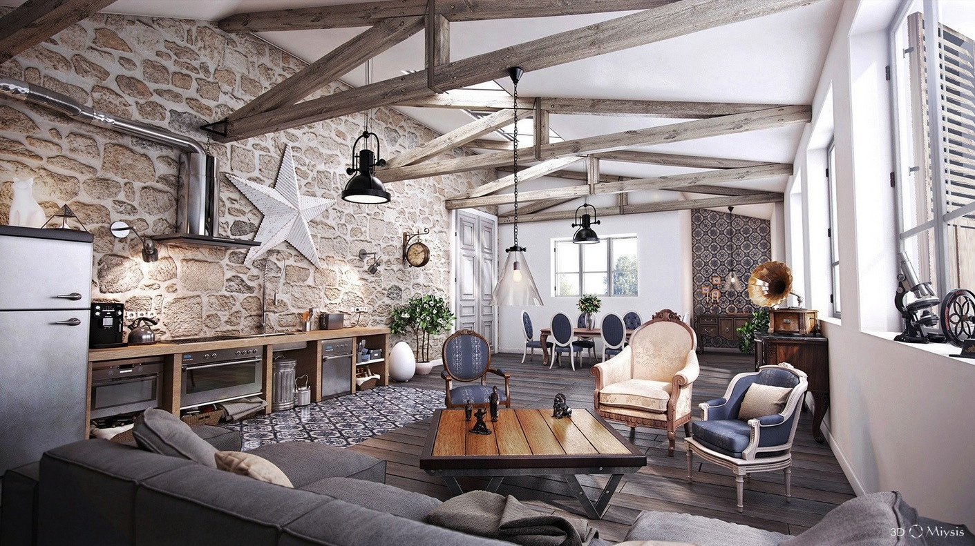 Stone And Wood Make A Dark Masculine Interior: 25 Tasteful Living Rooms