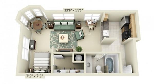 22  Source UDR Studio Apartment Floor Plans