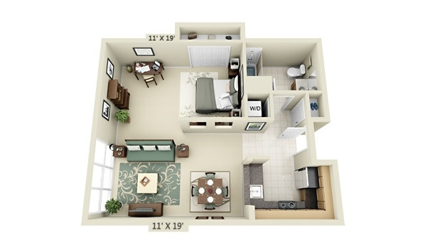 Studio apartment floor plans - One bedroom apartment layout ...