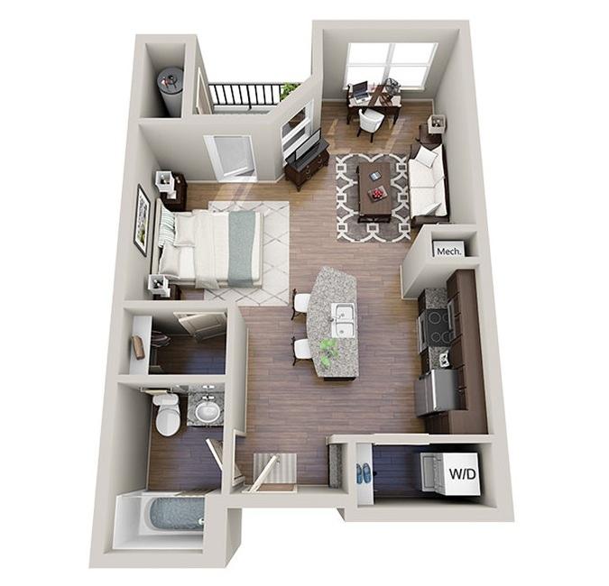 Small Studio Apartment Layouts | Credainatcon.com