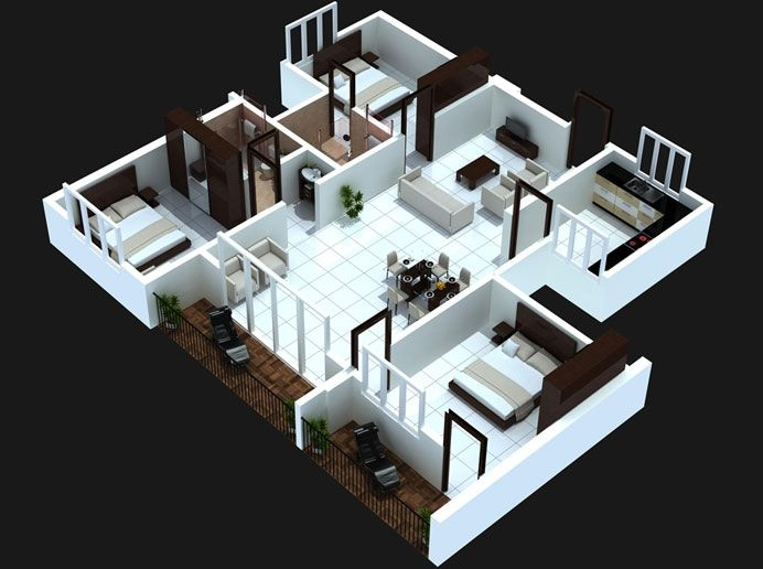 . 3 Bedroom Apartment House Plans