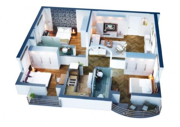 3 Bedroom Apartment/House Plans-Deezner
