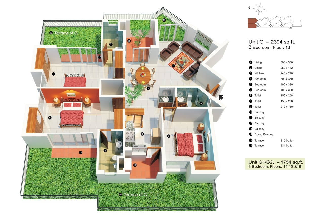 3 Bedroom Apartment/House Plans on