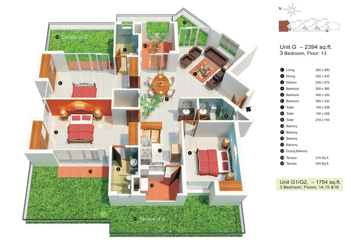 3 bedroom apartment house plans. Black Bedroom Furniture Sets. Home Design Ideas