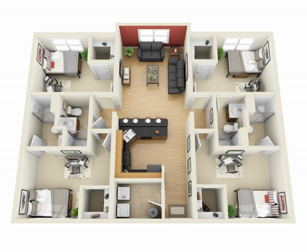 Excellent 4 Bedroom Apartment House Plans Download Free Architecture Designs Meptaeticmadebymaigaardcom