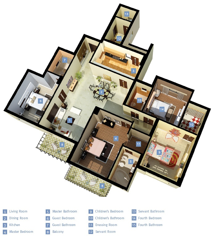 5 Bedroom Apartment: 4 Bedroom Apartment/House Plans