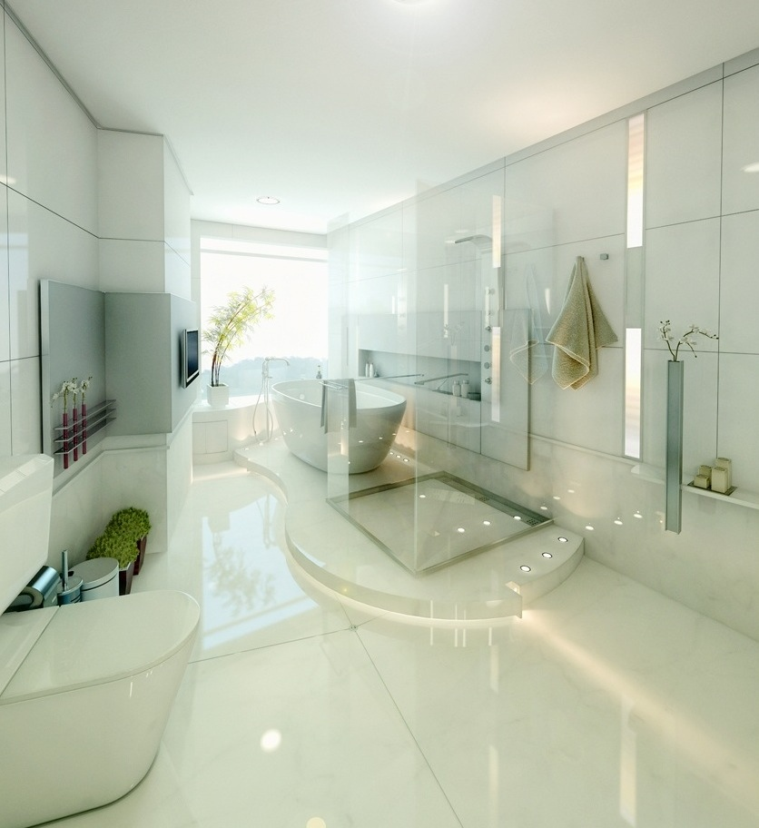 Sunlight streams into bathrooms connected to nature