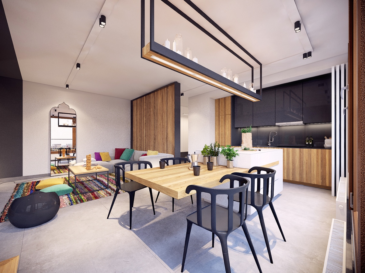 Colorful modern apartment design uses space to beautiful - Modern apartment interior design ...