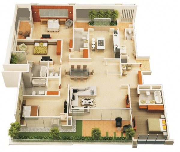 Admirable 4 Bedroom Apartment House Plans Home Interior And Landscaping Ologienasavecom