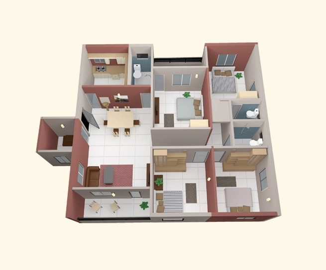 4 bedroom apartment house plans 18009 | four small bedrooms