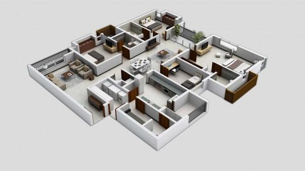 Denah Rumah 4 Kamar Tidur 3D 12