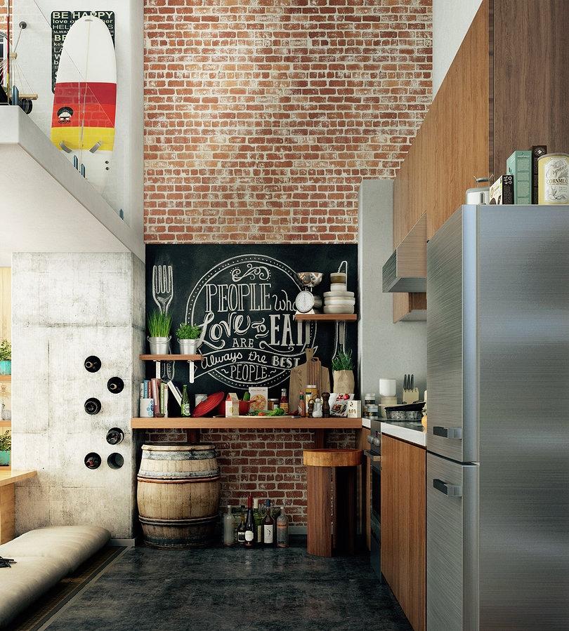 loft exposed brick kitcheninterior design ideas