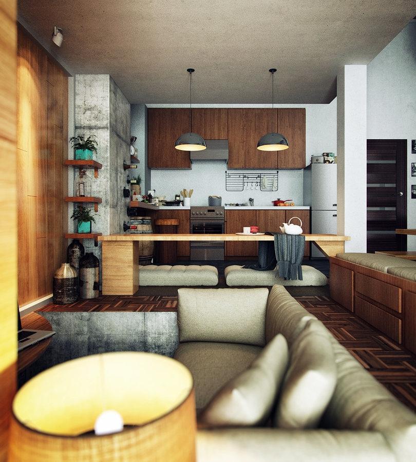 22 Beautiful Kitchen Design For Loft Apartment: Interior Design Ideas