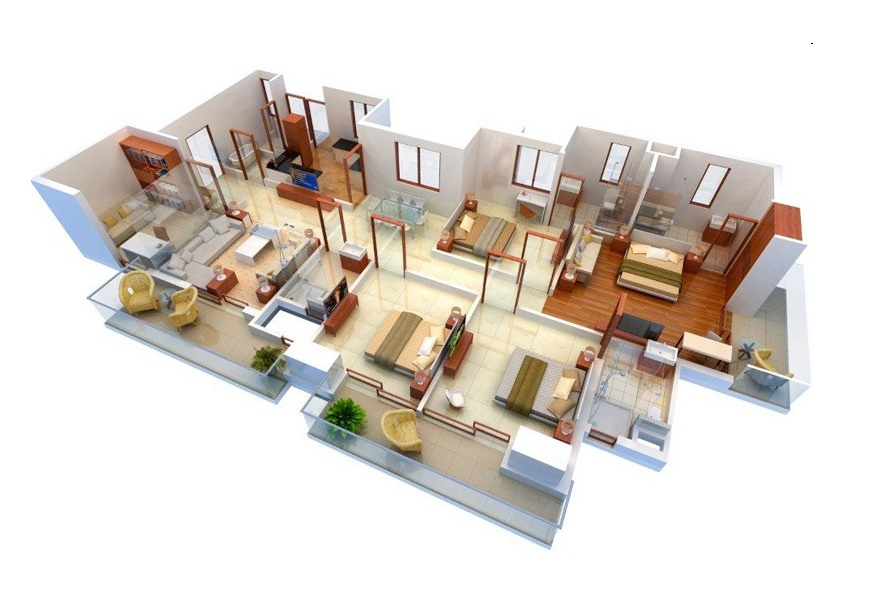 Denah Rumah 4 Kamar Tidur 3D 5