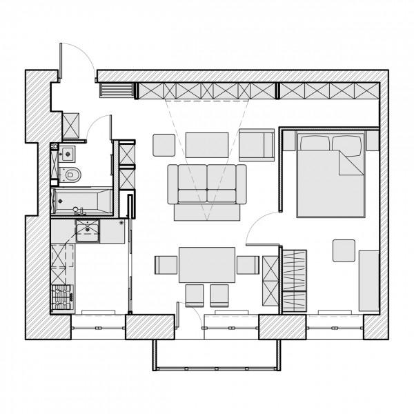 3 beautiful homes under 500 square feet. Black Bedroom Furniture Sets. Home Design Ideas