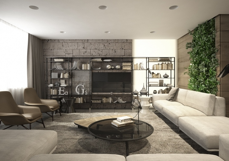 Stone And Wood Make A Dark Masculine Interior: Interior Design Close To Nature: Rich Wood Themes And