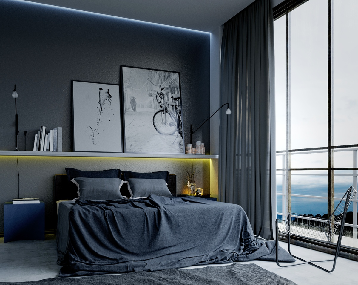 Modern Masculine Bedroom Interior
