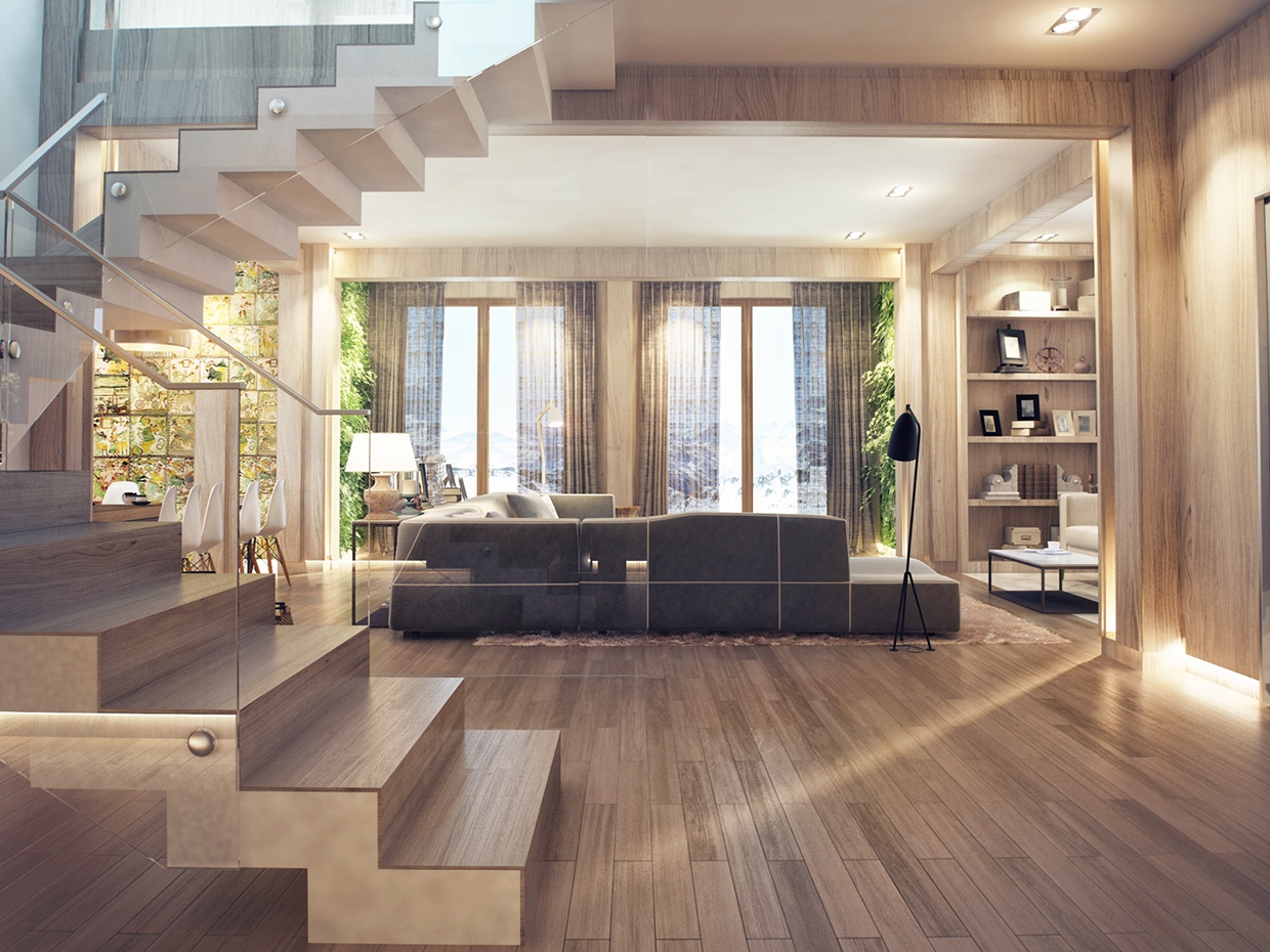 Interior design close to nature rich wood themes and indoor vertical gardens