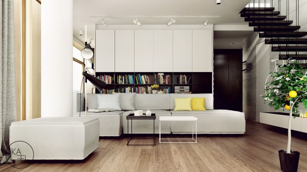 Two wire frame coffee tables take the place of one larger table in front of
