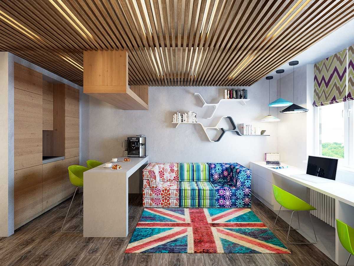 Two Cheerful Apartments With Creative Storage And Splashes