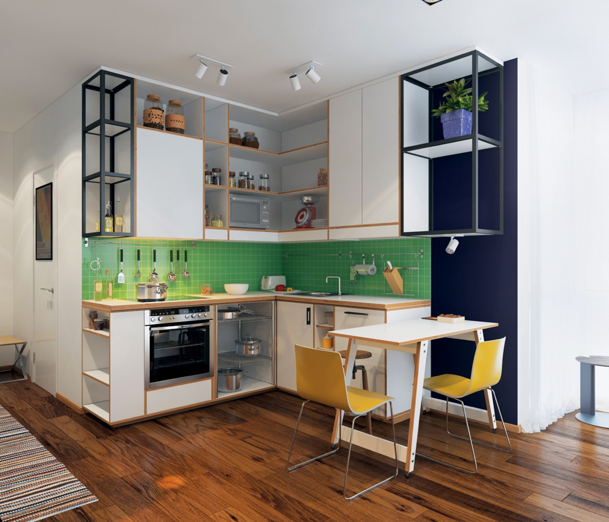 Kitchen Design With Breakfast Bar Homes Under 400 Square Feet 5 Apartments That Squeeze