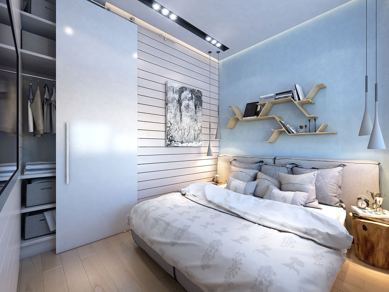 3 super small homes with floor area under 400 square feet - Bedroom layout ideas for square rooms ...