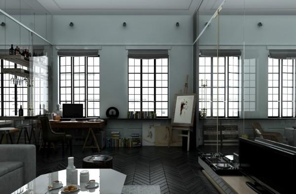 gorgeous loft design. Black Bedroom Furniture Sets. Home Design Ideas