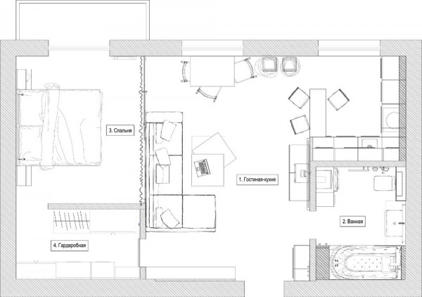 3 distinctly themed apartments under 800 square feet with floor plans. Black Bedroom Furniture Sets. Home Design Ideas