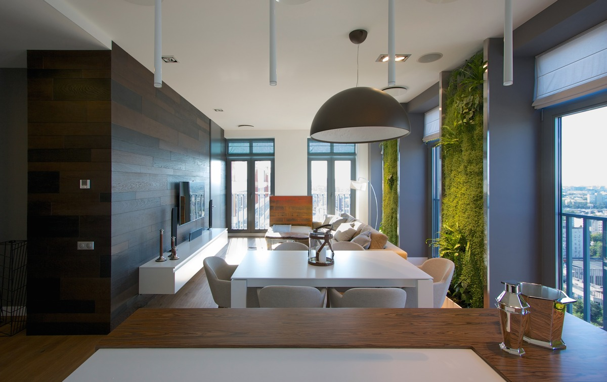 Vertical garden walls add life to apartment interior - Modern small apartment design ...
