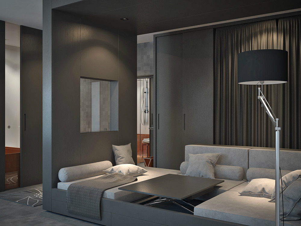 living and sleeping areas exist in harmony in these. Black Bedroom Furniture Sets. Home Design Ideas