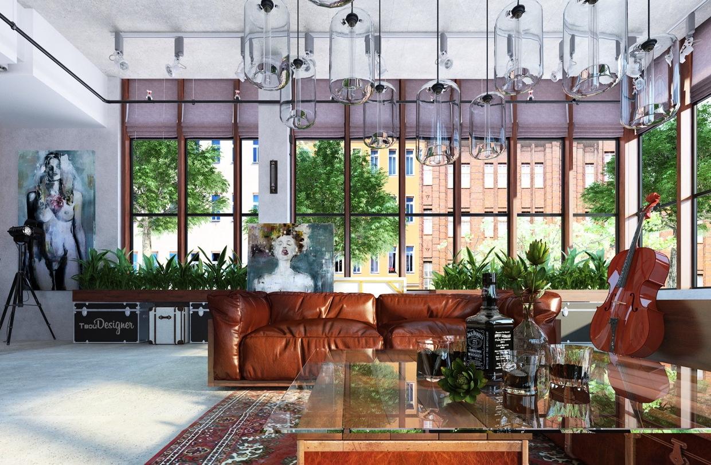 Leather Loft Sofa Interior Design Ideas