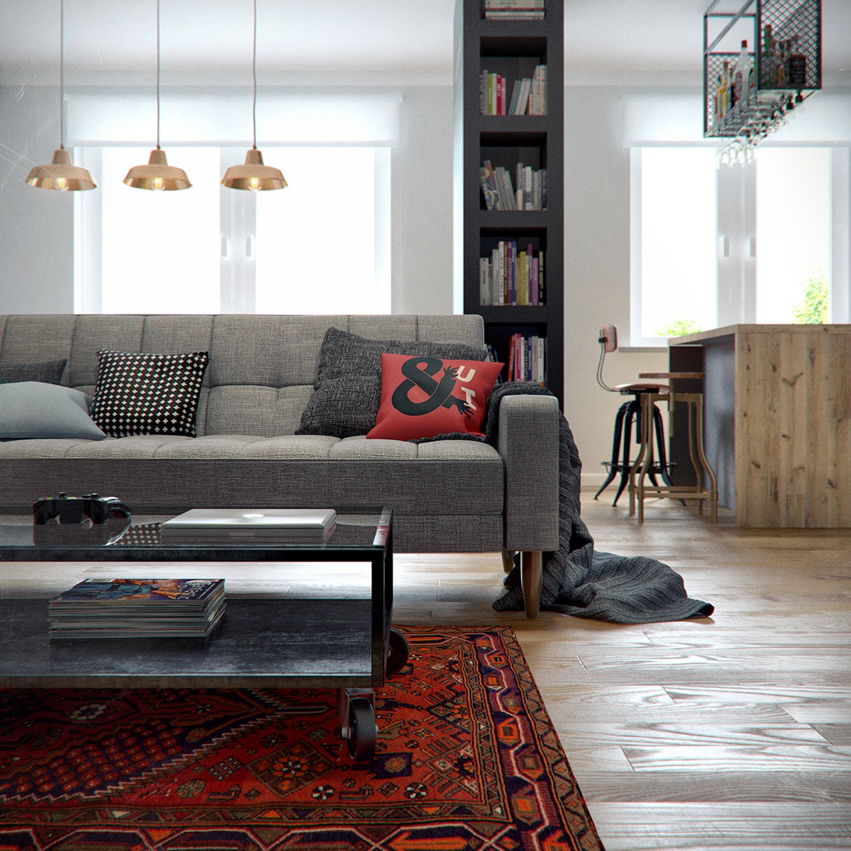 Single Apartment: Eclectic Single Bedroom Apartment With Open Floor Plan